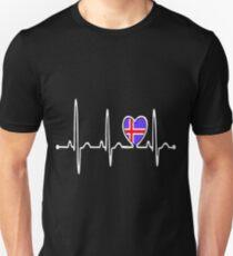 Iceland Country Flag Heartbeat Pride Tshirt T-Shirt  Unisex T-Shirt