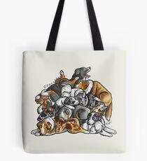 Sleeping pile of Australian Shepherd (Aussie) dogs Tote Bag