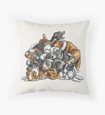 Sleeping pile of Australian Shepherd (Aussie) dogs Throw Pillow