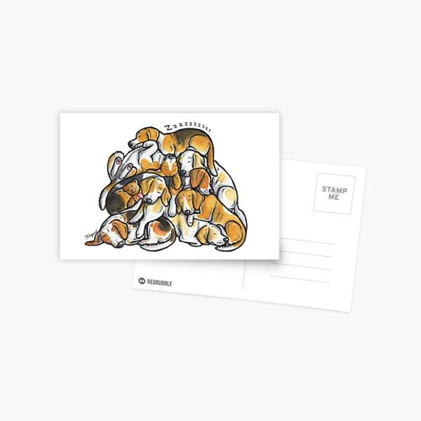 Sleeping pile of Beagle dogs Postcard