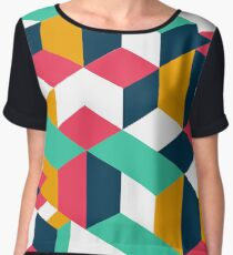 COLORED ABSTRACT GEOMETRIC SHAPES Chiffon Top