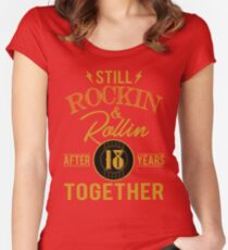 Anniversary 18 Years Together And Still Rockin And Women's Fitted Scoop T-Shirt