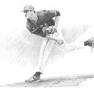 high-school baseball pitcher drawing by Mike Theuer