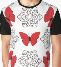 Red butterflies and black ornamental mandalas Graphic T-Shirt