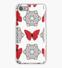 Red butterflies and black ornamental mandalas iPhone Case/Skin