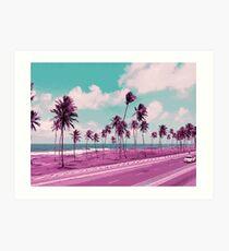 Vaporwave Sea Side Road Art Print