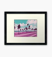 Vaporwave Sea Side Road Framed Print