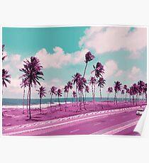 Vaporwave Sea Side Road Poster