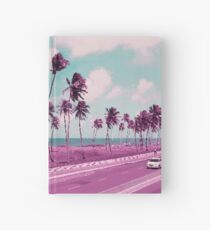 Vaporwave Sea Side Road Hardcover Journal