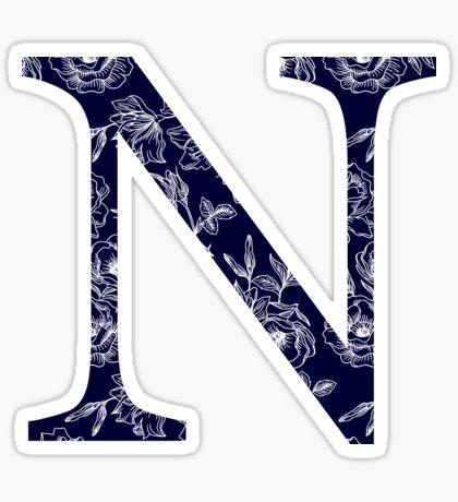 azul marino floral - nu Pegatina