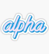 Alpha - pink/blue script Sticker