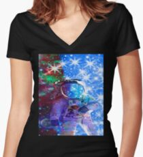 Astronaut dimensions Women's Fitted V-Neck T-Shirt