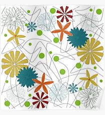 Retro 60s Floral and Boomerang Poster