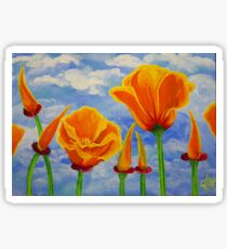 California Poppies Cloudy Sky Poppy Summer Flower Nature Landscape Field Wildflowers Bright Orange Sticker