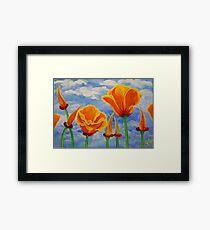 California Poppies Cloudy Sky Poppy Summer Flower Nature Landscape Field Wildflowers Bright Orange Framed Print