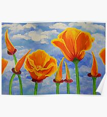 California Poppies Cloudy Sky Poppy Summer Flower Nature Landscape Field Wildflowers Bright Orange Poster