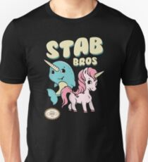 Stab Bros! Narwhal and Unicorn Team Up! Unisex T-Shirt