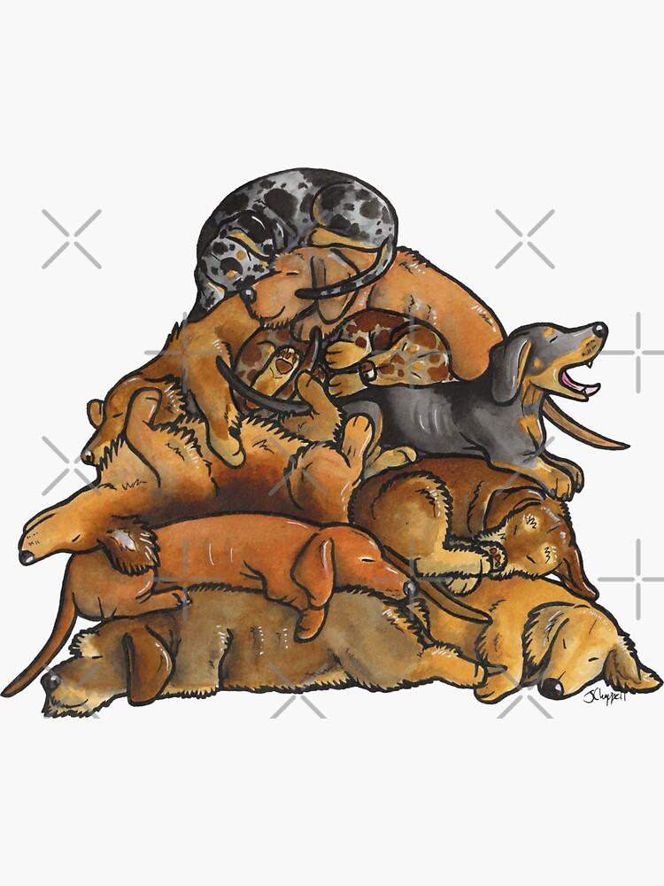 Sleeping pile of Dachshund dogs by animalartbyjess