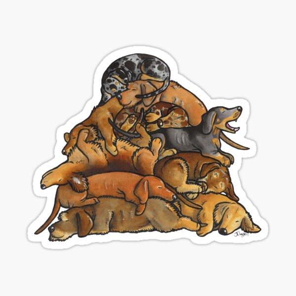 Sleeping pile of Dachshund dogs Sticker