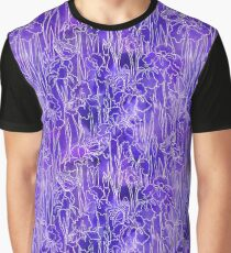 Violet Iris and Butterfly Graphic T-Shirt