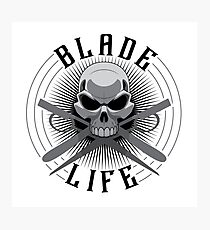 SKULL AND ARTBONES - BLADE LIFE BARBER Photographic Print