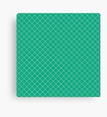 Christmas Holly Green Scots Tartan Diagonal Check Plaid Design Canvas Print