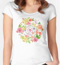 Bouquet of PINK, YELLOW AND ORANGE rose - wreath Women's Fitted Scoop T-Shirt
