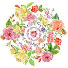 Bouquet of PINK, YELLOW AND ORANGE rose - wreath by casualforyou