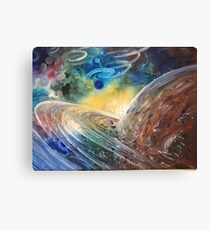Saturn Oil Painting Space  Canvas Print