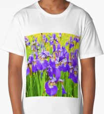 Field of Purple Iris Blooms Long T-Shirt