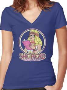 She-Read Women's Fitted V-Neck T-Shirt