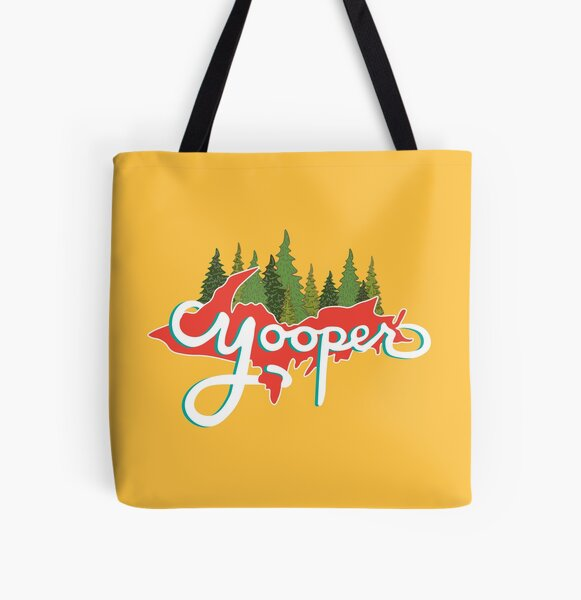 Yooper - Red and Yellow All Over Print Tote Bag