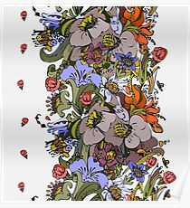 Bright floral ornamental in frieze Poster