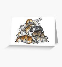 Sleeping pile of Siberian Huskies Greeting Card