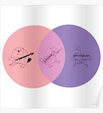 Keytar Platypus Venn Diagram - Pink Poster