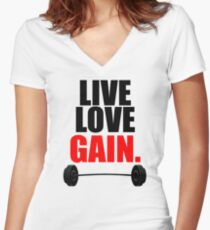 Live, Love, Gain  Women's Fitted V-Neck T-Shirt