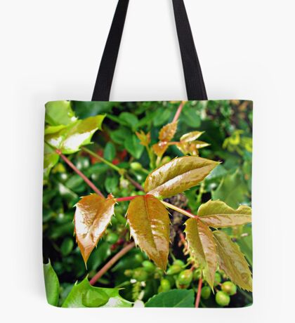 Glorious Greens - Sunlit Shrubbery in Mirrored Frame Tote Bag