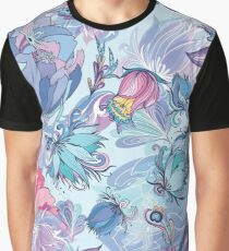 Azure Floral Vector Pattern Graphic T-Shirt
