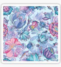 Azure Floral Vector Pattern Sticker