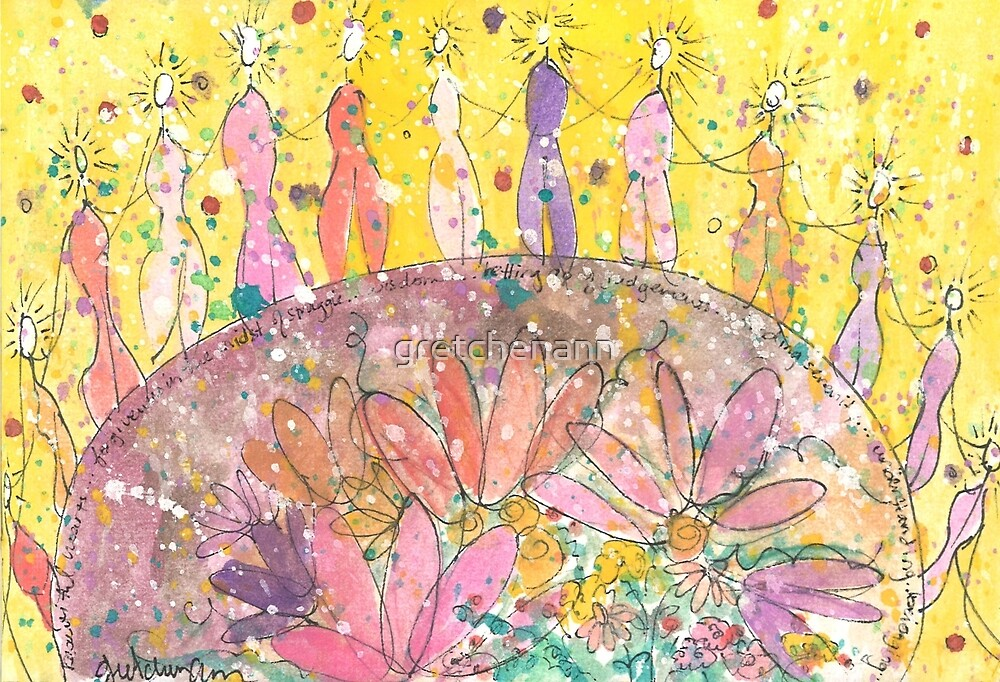 Beautiful Hearts Watercolor Painting by gretchenann