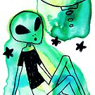 Alien UFO Watercolor by SaradaBoru