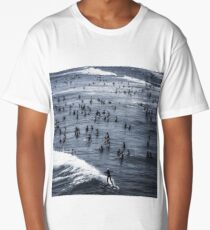 Crowded Line Up - Southern California Beach/Ocean Long T-Shirt