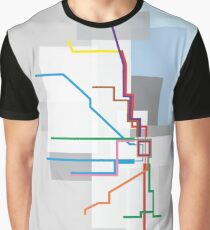 Chicago Transit Map Lake Graphic T-Shirt