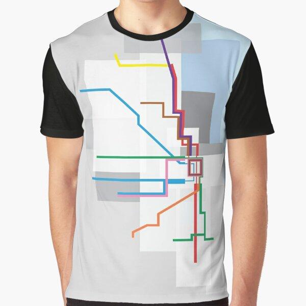 Chicago Transit Map Lake Graphic T-Shirt