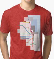 Chicago Transit Map Lake Tri-blend T-Shirt