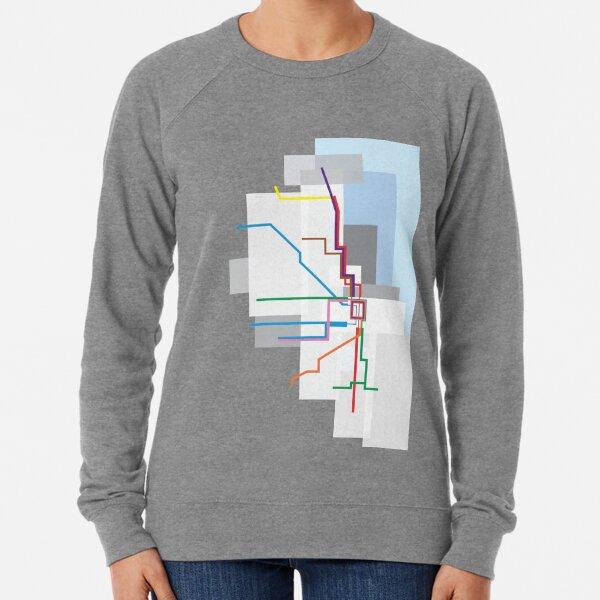 Chicago Transit Map Lake Lightweight Sweatshirt