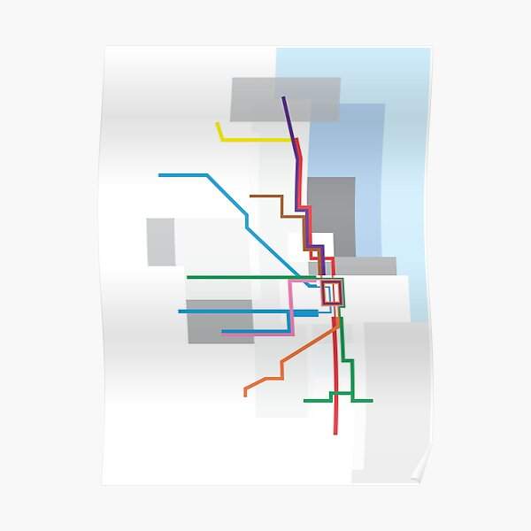 Chicago Transit Map Lake Poster