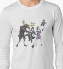 Moose and Squirrel Fight Crime Long Sleeve T-Shirt