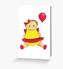 Baby girl in red and yellow with red balloon. Greeting Card