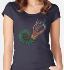Nautilus Sea Creature Street Art Women's Fitted Scoop T-Shirt